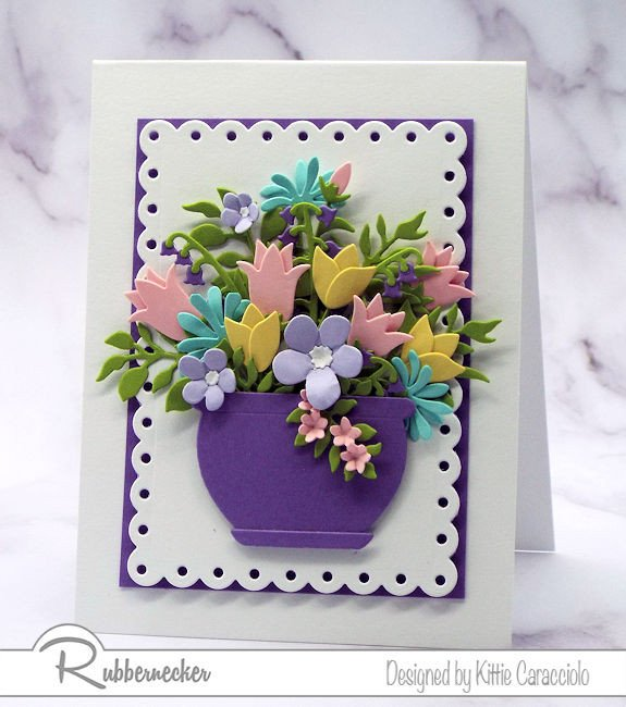 A card made using all five new Rubbernecker flower dies sets - two tutorial videos today
