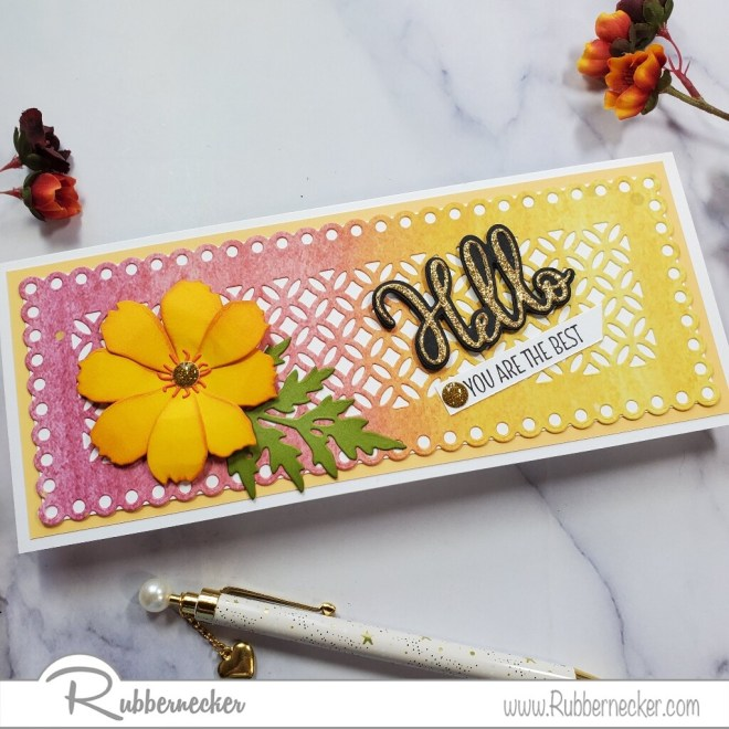 a slimline fall card featuring a patterned paper layer and a dimensional flower all made using dies from Rubbernecker