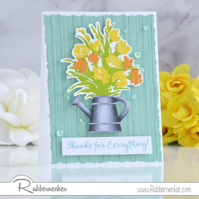 a 3D effect with markers created the realistic watering can on this handmade greeting card