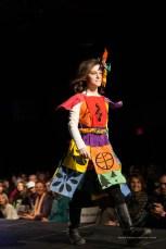 "RIMROCK TIBET Designer/Model: Becky Knight Materials: Discarded ""Community/Prayer"" Flags School: REALMS"