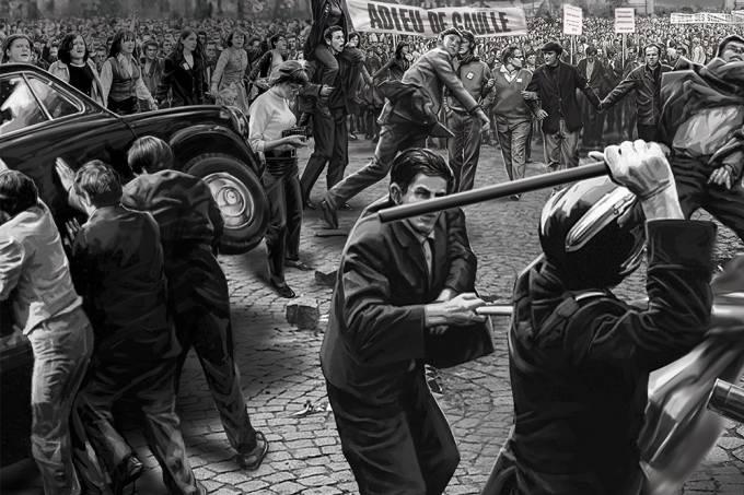 Policiais reprimem manifestação em Psris (Foto: Superinteressante)