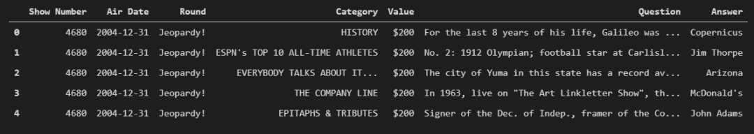 JEOPARDY Questions Dataset Data