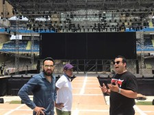 Shera (L) at a recce at the DY Patil Stadium for the Justin Bieber show