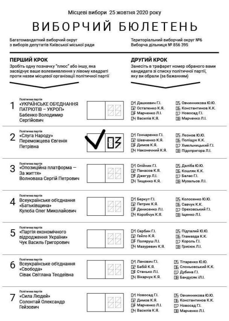 як виглядатиме бюлетень на виборах восени