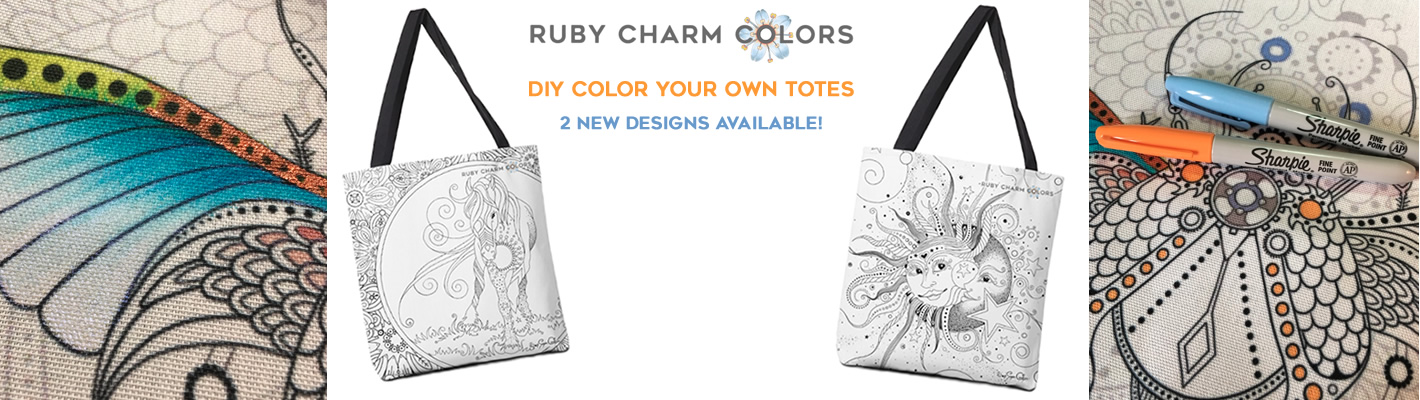 Color Your Own Totes from the Ruby Charm Colors collection