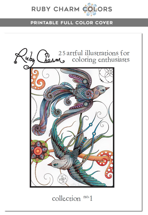 RubyCharmColors Digital downloadable and printable coloring book for adults