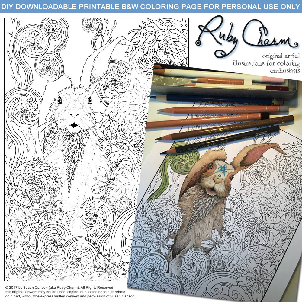 Spring Rabbit, March Hare: illustration by Ruby Charm Colors