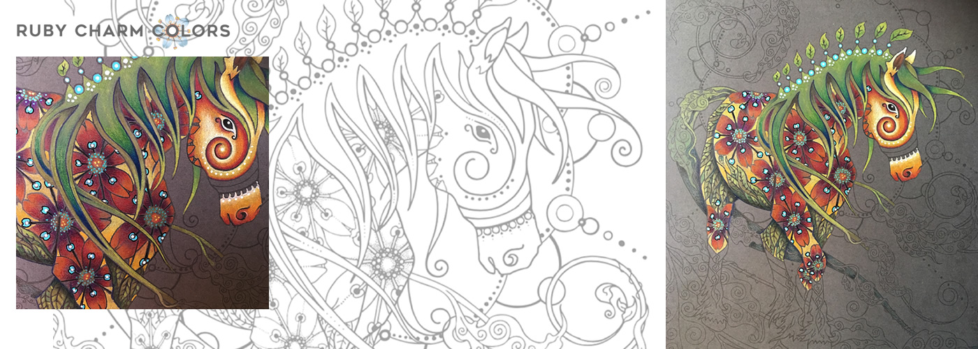 Ruby Charm Colors Horse with Flowers illustration