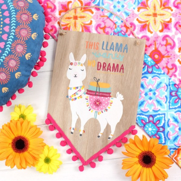 Wooden Llama Hanging Sign