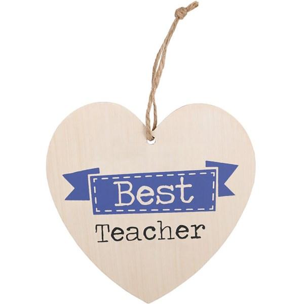 Best Teacher Hanging Heart Sign