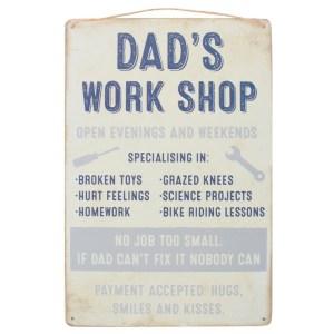 Dads Workshop Hanging Metal Sign - Light Colour