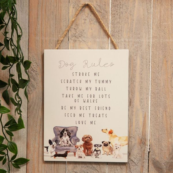 Wooden Hanging Dog Rules Plaque