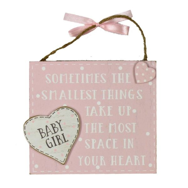 Baby Girl Heart Hanging Plaque