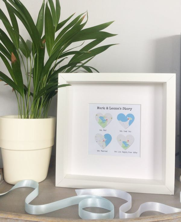 Our Story Personalised Map Framed Gift