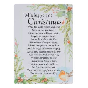 A sweet and heartfelt graveside poem card with Christmas rhyming memorial.