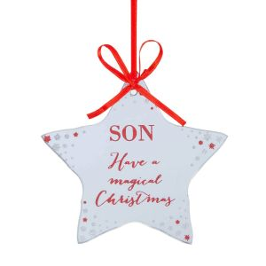 Wish your son a merry Christmas with this mirror glass hanging decoration.