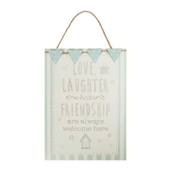 Love, Laughter and Friendship Friends Hanging Plaque
