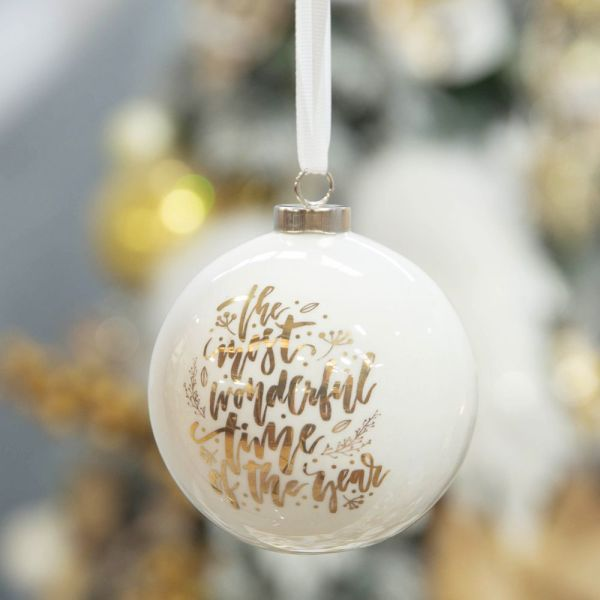 The Most Wonderful White & Gold Ceramic Bauble