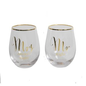 Set of 2 Gold Mr Right/Mrs Always Stemless Wine