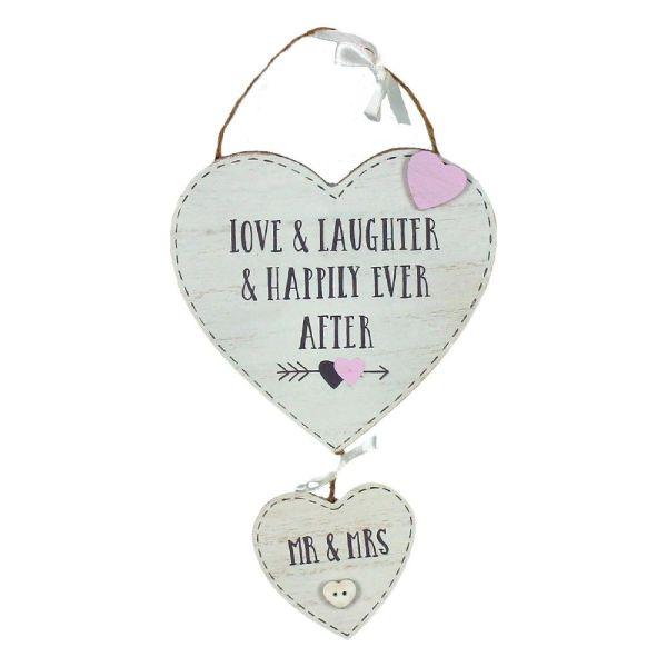 Mr & Mrs Heart Wedding Plaque