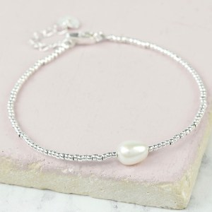 Dainty Seed Bead & Pearl Silver Bracelet