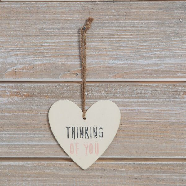 Thinking Of You Greeting Card with Heart Plaque
