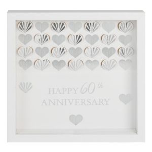 White Framed 60th Anniversary Wall Plaque