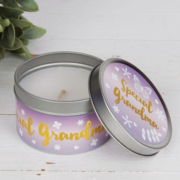 Special Grandma Lilac Tin Candle