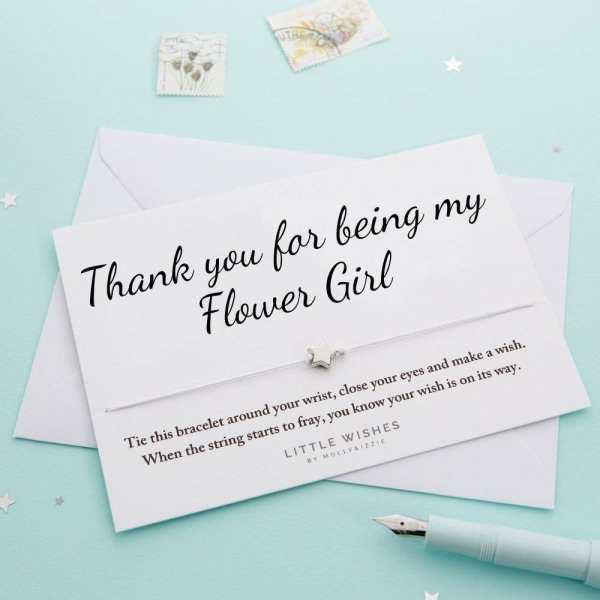 Thank You Flower Girl Wish Bracelet Card