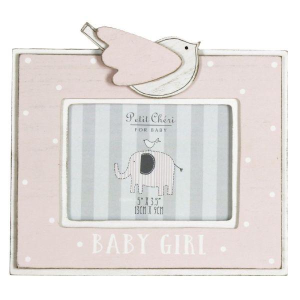 Pink Baby Girl Bird Photo Frame