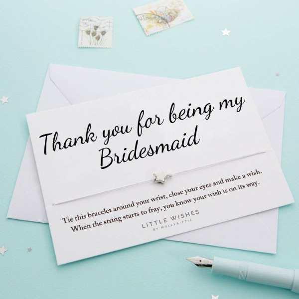 Thank You Bridesmaid Wish Bracelet Card