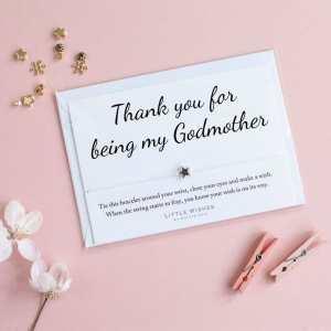 Thank You Godmother Wish Bracelet Card