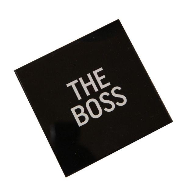 The Boss Black Glass Coaster