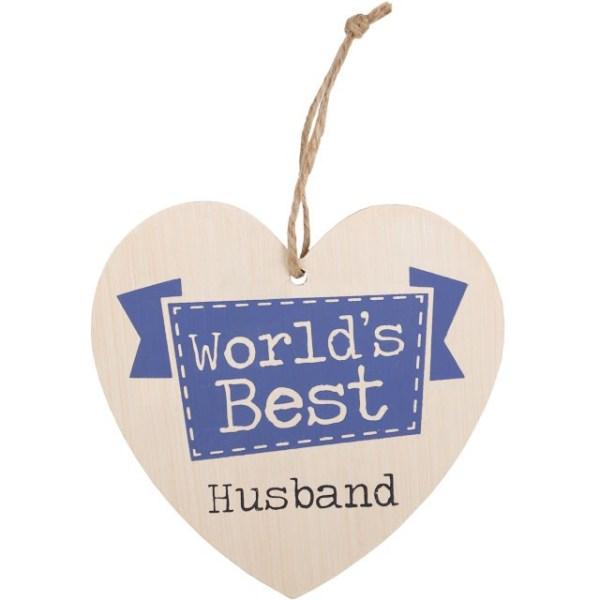 World's Best Husband Hanging Heart Sign