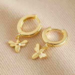 Tiny Bee Huggie Hoop Gold Earrings