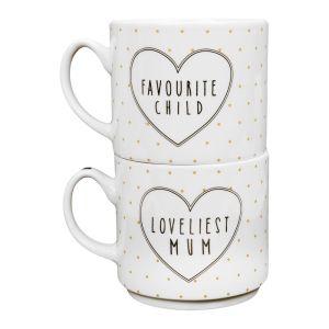 Favourite Child Loveliest Mum Stacking Mug Set