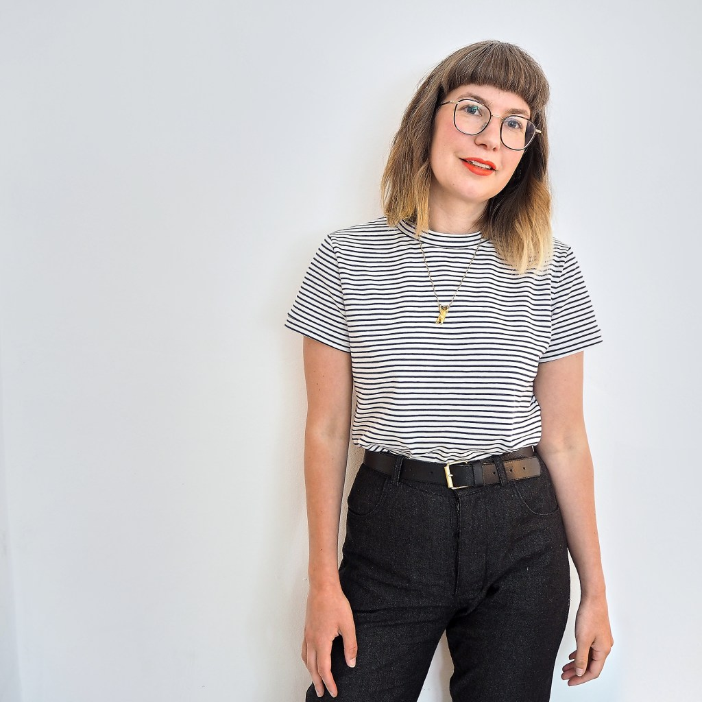 Basic T shirt girl wearing striped tee