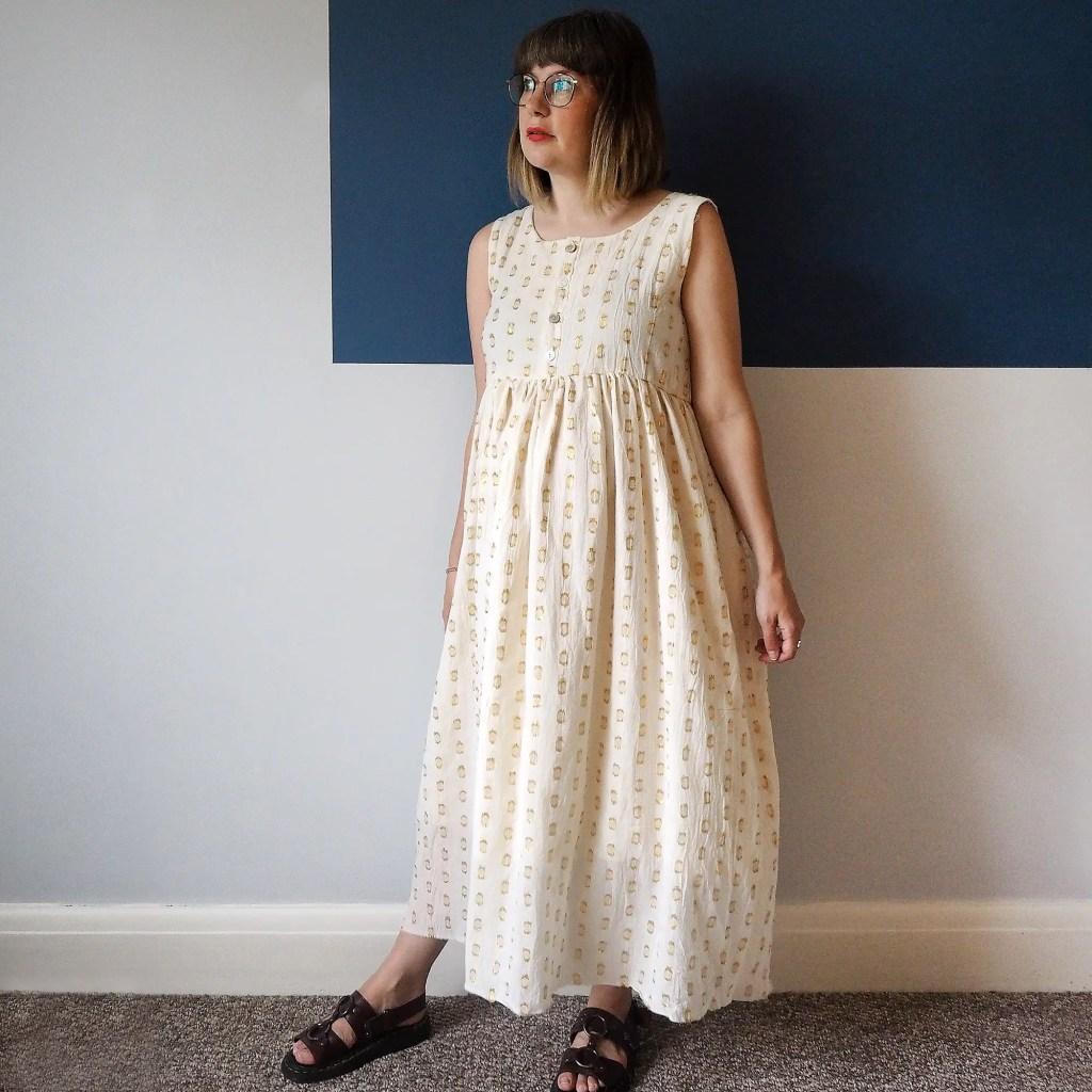Girl wearing home sewn dress