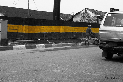 Barrack wall at St Agnes Yaba, Lagos. by rubys polaroid