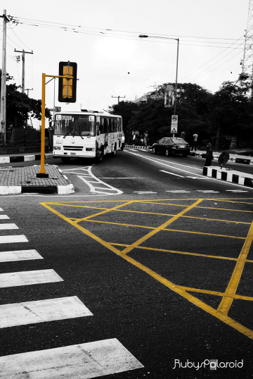 Yellow crossing at Awolowo Way Ikeja Lagos by rubys polaroid