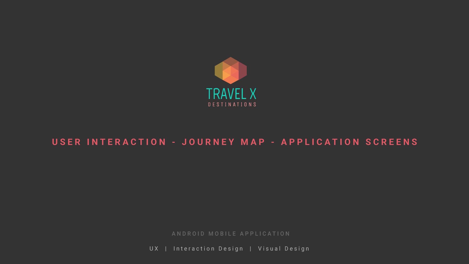 TravelX Application screens Visual design