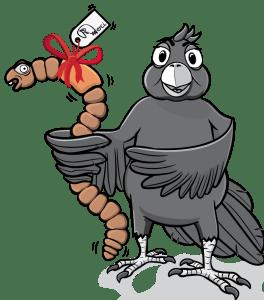 Vogel und Wurm Cartoon Vektorgraphik