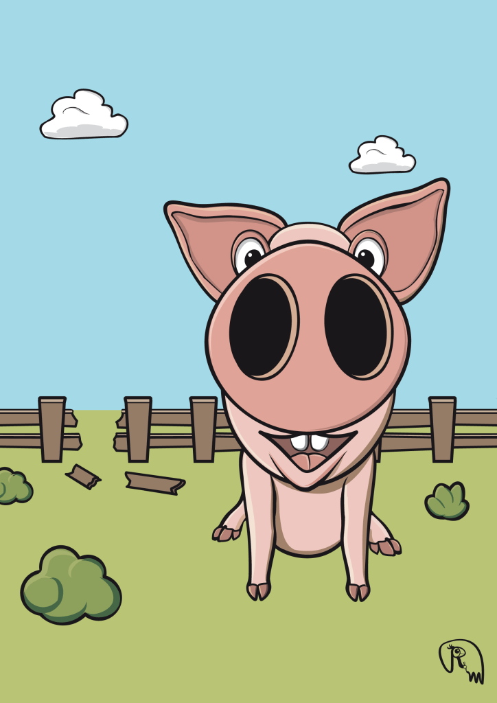 Pig character design vector graphic
