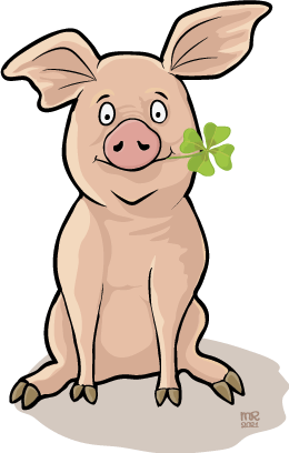 Good luck - pig with clover leave