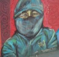 Graffiti eines Schuhputzers in La Paz, Bolivien