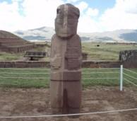 Skulptur in Tiwanaku, Bolivien