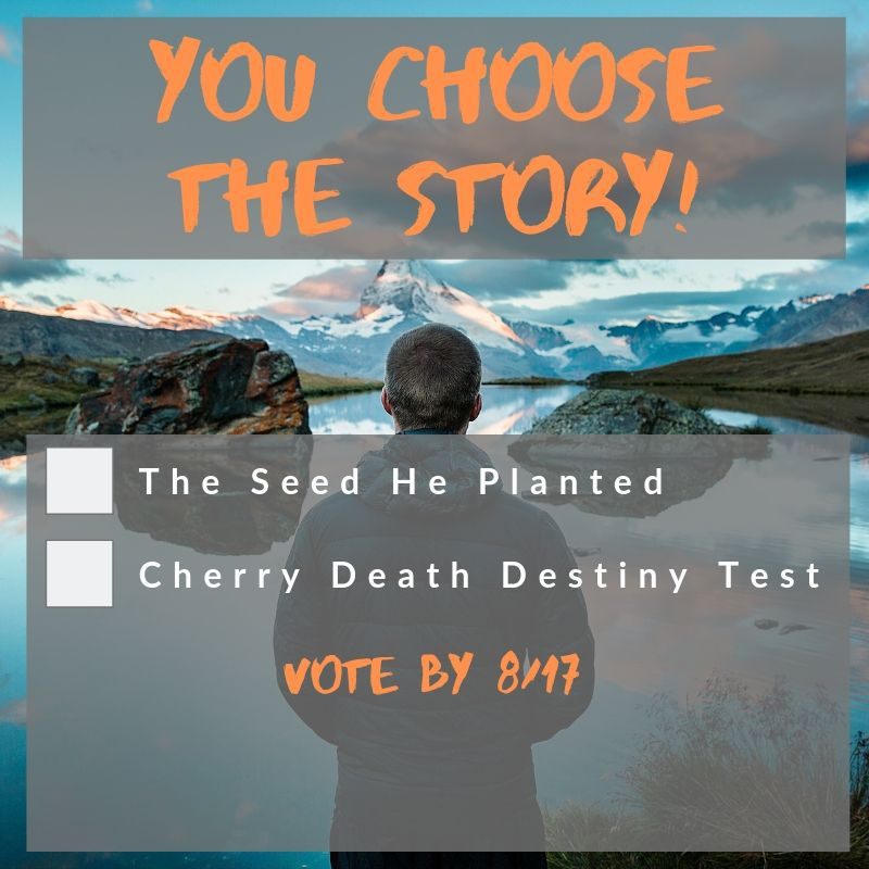 You choose the story! Vote for The Seed He Planted OR Cherry Death Destiny Test by Aug. 17