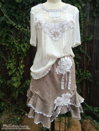 Altered and embellished blouse and skirt