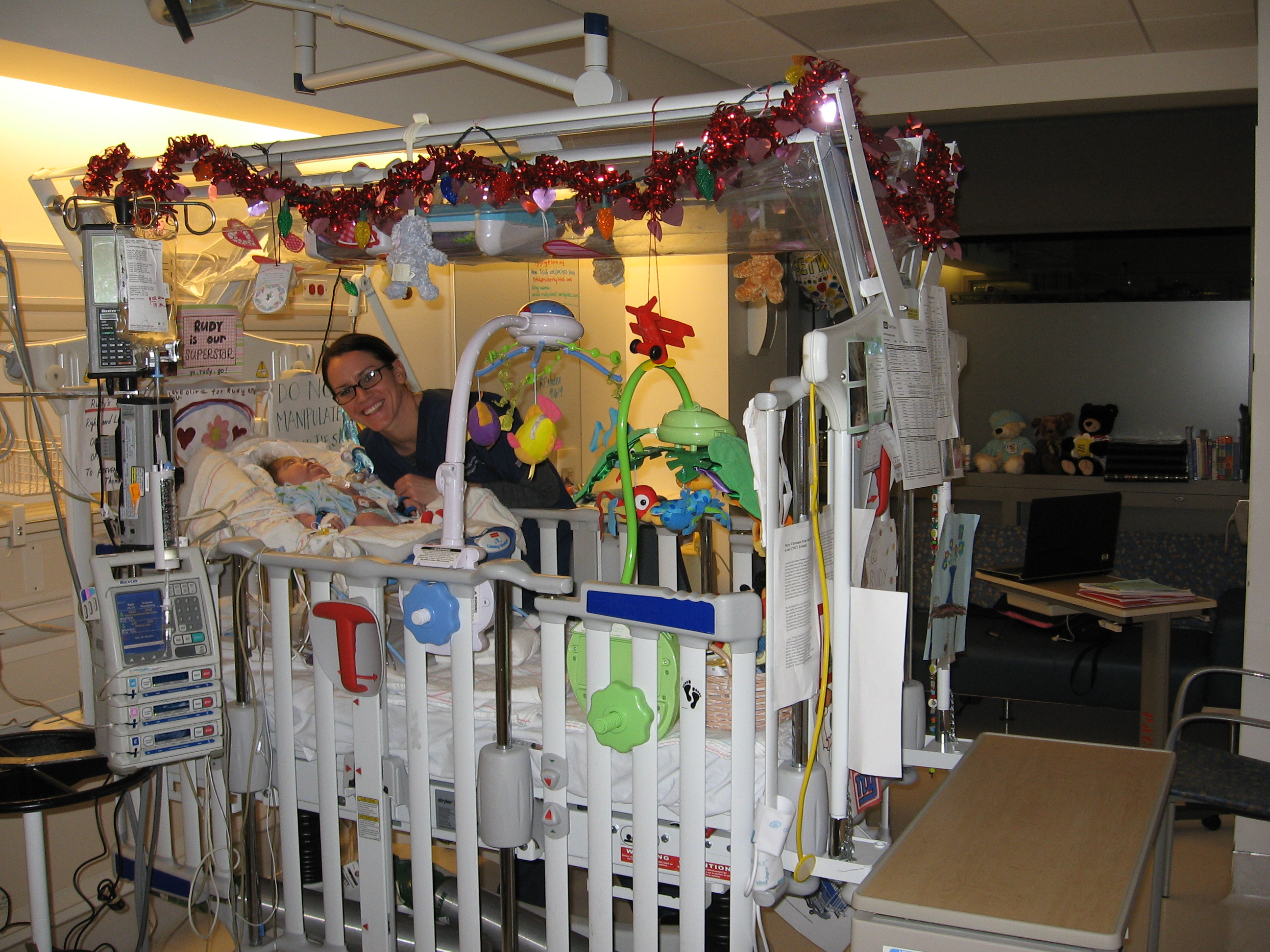 Rudy's new PICU room - Check out Nurse Amy!