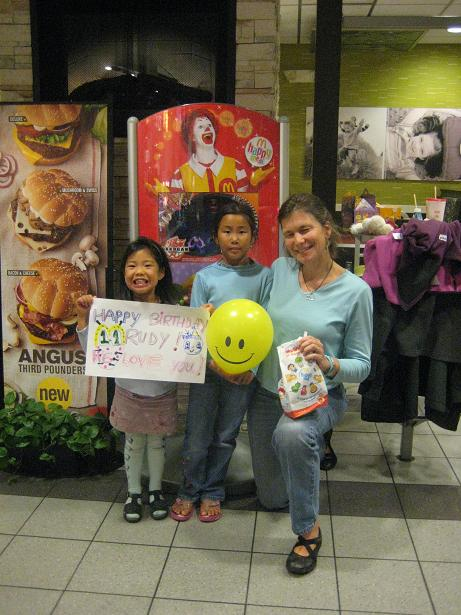 Not far away in Boston, Cousins Mya and Kyra were lovin Aunt Andi even more after the trip to Mickey D's.